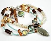 Multi Strand Beaded Bracelet, Mixed Metal, Copper, Australian Opal, Turquoise, Labradorite, Chalcedony, Venetian Trade Bead, Silver- Alamosa