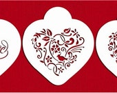 Be My Valentine Heart Stencil Set for Cookies, Cakes & Cupcakes - Designer Stencils (C878) face painting