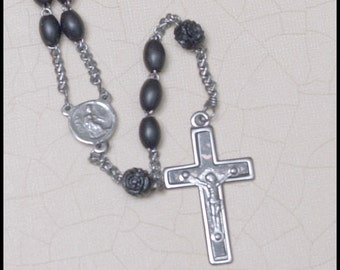 Vintage  France Black Bead Rosary with carved pater beads