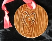 Valentine's Day gift Faux Bois Tree Carved Wood Grain Initials Ceramic Personalized Ornament-personalized for you and your sweetheart!