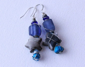 Wrap Earings beads Boho Gypsy dangle native american clay star beads