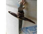 OLD Rugged Cross - Obsidian Needle Pendant