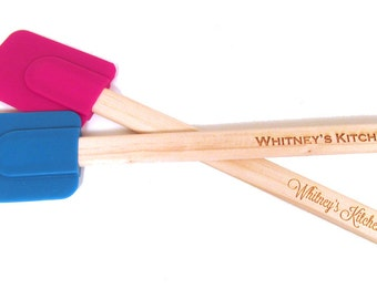 Personalized Engraved Spatula - Wood and Silicone Scraper