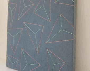 Prisms Textile Wall Art by Tiny Marie Blue Copper Aqua Triangles