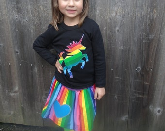 Girls Rainbow Unicorn Shirt, Skirt and Leg Warmer set for Baby, Toddler, Children and Kids - Stripe Leggings - Great Birthday Party Outfit