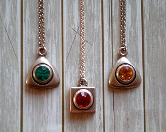 3 Swarovski Necklaces/Gift Wife/Bridesmaids/Everyday Necklace Trio/Simple Color Necklace/Teen Girl/Gift Granddaughter/Valentine's Day/Rustic