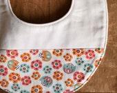 Organic Baby Bib in TULIP TOSS; Pink, Aqua, and Orange Flowers Baby Bib, New Baby Gift by Organic Quilt Company