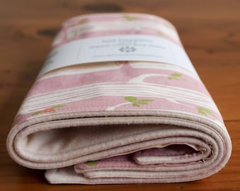 Organic Burp Cloth, Set of Two in TREE STRIPES PINK, Spit Happens Burp Cloths Gift Set of 2 by Organic Quilt Company