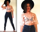 Vintage 60s Peach Sheer Floral Embroidered Bell Sleeve Crop Top (size xs, small)