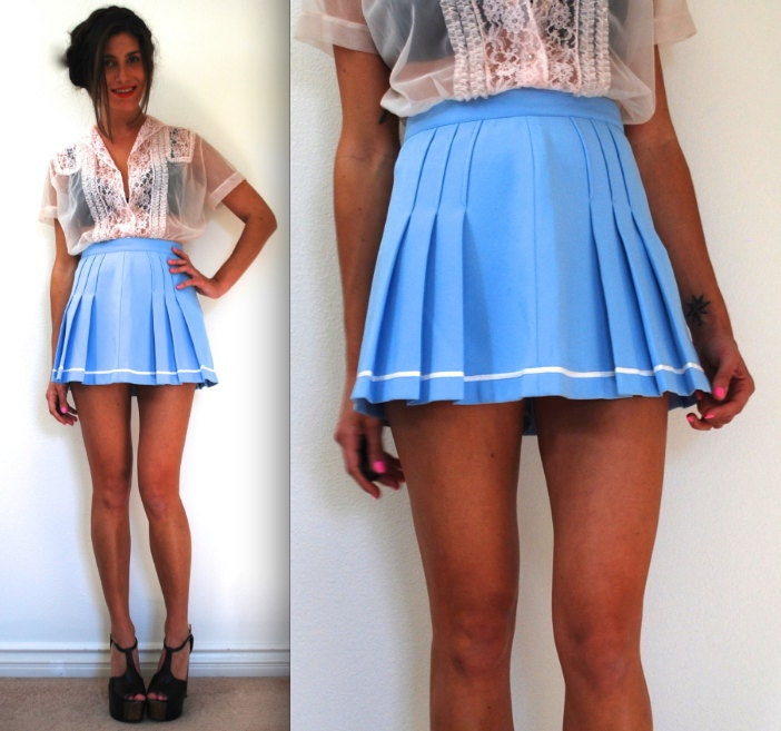 vintage 60s 70s baby blue high waisted pleated tennis skirt