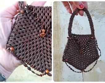 Vintage Antique old French 1900/1920 seeds bag purse reticule