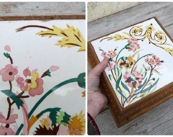 Vintage Antique 1900 Art nouveau French  majolica ceramic tile trivet
