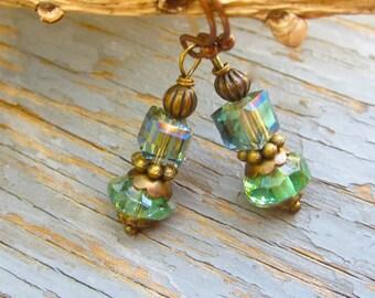Apple green speciality beads handmade earrings