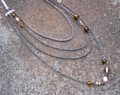 Eco-Friendly Multi-Chain Statement Necklace - Falling Slowly - Layers of Recycled Vintage Chain and Glass Beads in Browns and Tan