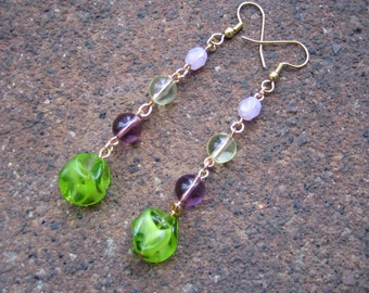 Eco-Friendly Dangle Earrings - Flower Bomb - Recycled Vintage Beads in Pale Yellow, Lilac, Pink and Bright Apple Green
