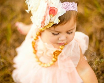Gilded Gold Bubblegum Necklace, Posh, Gold Rose, Sparkly, Photo Shoot, Smash Session, Birthday, Chunky, Baby Bling, Summer, Flower Girl