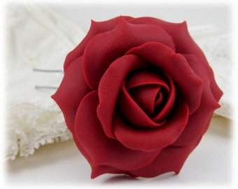 Red Rose Hair Clip Pin - Red Rose Hair Flower, Red Flower Hair Pin