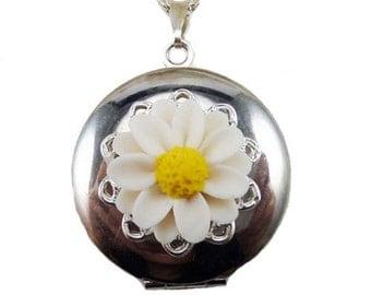 Daisy Locket Necklace -  Daisy Jewelry, April Birthday Birth Flower