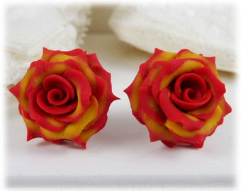 Red Tip Yellow Rose Earrings Stud or Clip On - Fire Tipped Roses