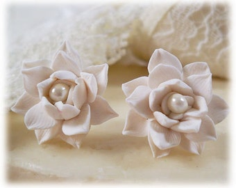 Lotus Earrings Studs - More Colors, White Lotus Jewelry, Lotus Post Earrings, White Lotus Flower Earrings , Lotus Clip Ons, Lotus Jewelry