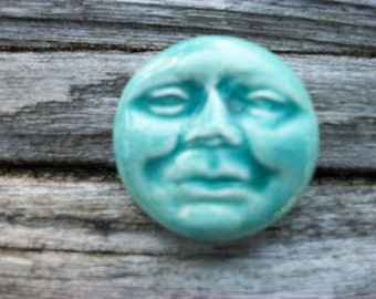 Pale Green Man on the Moon Ceramic Cabochon