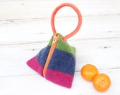 Triangle Pouch in  Pink  Blue and Green Felted Wool