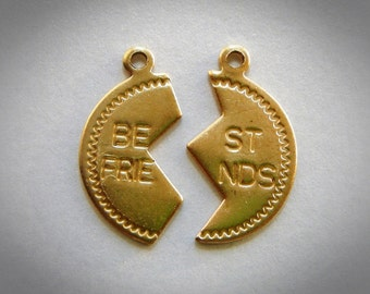 CLOSEOUT BRASS (6 Pieces) Best Friends Stampings ~ Pendant and Jewelry Findings