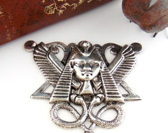 SILVER Egyptian Motif King Tut Snake Stamping - Jewelry Antique Silver Findings (FC-21) #