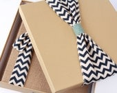 Keepsake Box, Navy Canvas Chevron Ribbon - Baby Memory Book Addition