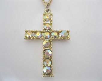 Vintage rhinestone cross necklace