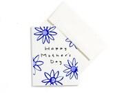 Mothers Day Card / Greeting Cards / Floral Print / Silkscreen Print / Royal Blue
