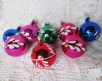 Vintage Set Of 8 Small Hand Painted With Mica Christmas Ornaments