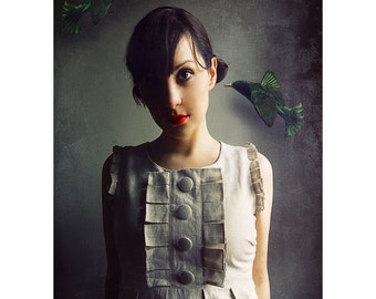 Surreal Portrait, Dark Photography, Hummingbird Portrait, Victorian Style Photo, Fine Art Print, Emerald Green, Woman and Birds, Rich Color