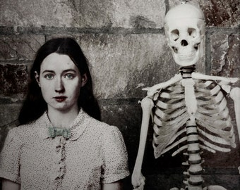 Halloween Decor, Girl and Skeleton Photograph, Surreal Portrait, Scary, Haunting Photo, Dark Art, Skeleton, Fine Art Photo