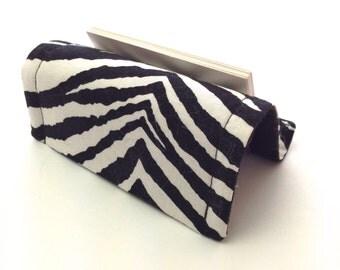Card Holder or Card Stand Reversible Black White Zebra Stripes