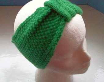 Headband neck warmer knitted St. Patrick's Day emerald isle vintage inspired 1940s style