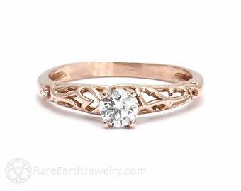 Diamond Solitaire Engagement Ring Filigree Diamond Engagement Ring Conflict Free 14K or 18 Rose Gold