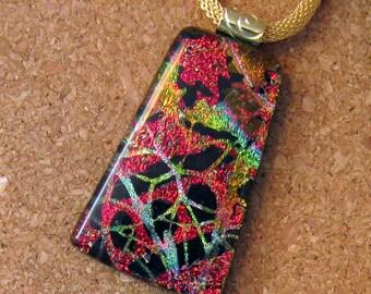 Dichroic Pendant - Fused Glass Pendant - Holiday Pendant - Holiday Jewelry - Dichroic Jewelry - Christmas Pendant