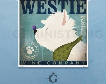 Westie Wine company dog artwork west highland terrier illustration giclee archival signed artists print  by stephen fowler