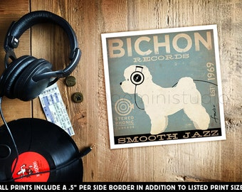Bichon Frise records dog illustration giclee archival signed print by stephen fowler Pick A Size