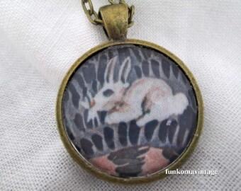 Sweet little bunny necklace Spring jewelry white rabbit jewelry white bunny Pendant round brass rabbit charm jewelry