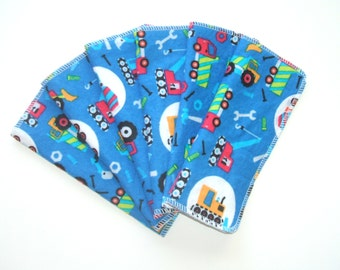 Cloth Baby Wipes Set of 6 2 Ply Flannel Basic Cloth Diaper Wipes Construction Print Reusable Flannel Wipes, Family Cloth