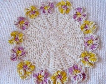 Vintage Crochet Ivory Doily with beautiful and realistic purple and yellow pansies  - sweet