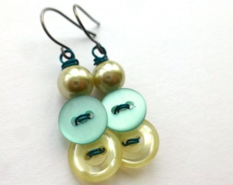 Turquoise Aqua Blue and Pearl White Vintage Button Dangle Earrings
