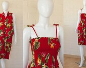 80s Vintage Red Hawaiian HIBISCUS Floral 2 PC Day Dress XS