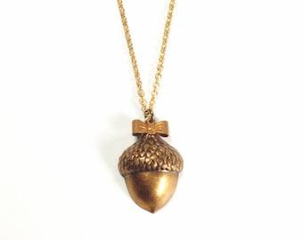 Acorn pendant necklace copper bow retro woodland autumn jewelry fall fashion vintage style