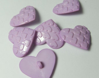 Light Purple Lavender Hearts on Heart Novelty Buttons