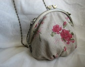 Clutch or Shoulder Bag - Natural Linen with Pink and Red Rose Print with Curved Double Heart Clasp Frame