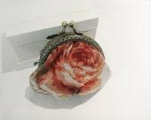 Linen Peony Rose Coin Purse  - Handmade & Unique