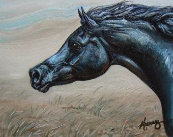 Chasing the Wind, Black Arabian horse 4x6 original oil painting equine animals collectibles postcard OSWOA sfa by Kerry